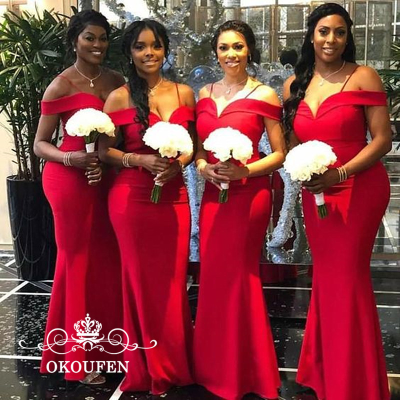 OKOUFEN Sexy Off Shoulder Mermaid Red Bridesmaid Dresses Long 2018 African Women Customize Maid Of Honor Dress Party Formal Gown