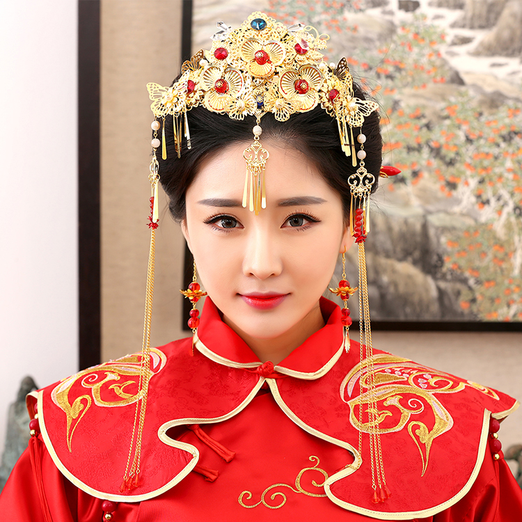 Na Zheng Traditional Chinese Wedding Bride Hair Tiaras for Xiuhefu Hair Accessory Set for Costume 03 red gold bride wedding hair tiaras ancient chinese empress hat bride hair piece