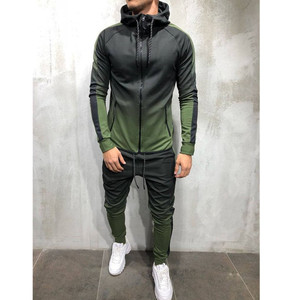 Image 2 - 2pcs men sportswear tracksuit zip up hoodies sweatshirt+pant running jogging leisure fitness gym workout athletic set sport suit