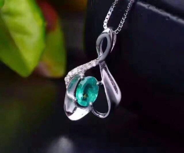 Элегантный серебро изумрудное ожерелье кулон 0.5 карат натуральный изумруд подвеска твердые 925 серебряное ожерелье кулон романтический подарок для девочки
