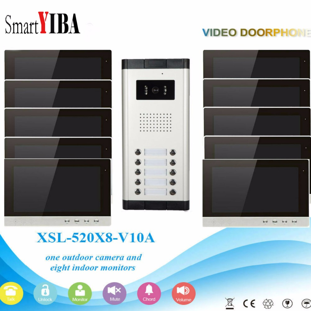 SmartYIBA 10 Visual Doorbell Intercom IR Camera Entry System Video Door Phone For 6 Units Apartment Home Households