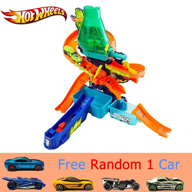 Hot Wheels Color Splash Science Lab Pista Auto di Colore Comandi con Colore Differente di Sport Auto Divertente Giocattolo Per Bambini Pista CCP76 regalo