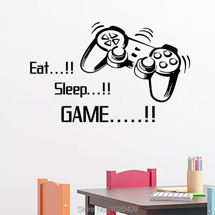 Exclusive Direct wall sticker Home Furnishing decorative Eat Sleep Games console PVC wallpaper children room decor 4045