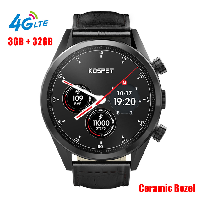 Kospet Hope 1.39'' AMOLED 4G LTE Android 7.1 Smart Watch Quad Core 3GB Plus 32GB ROM GPS Wifi 8.0MP HD Camera Heart Rate Watch.