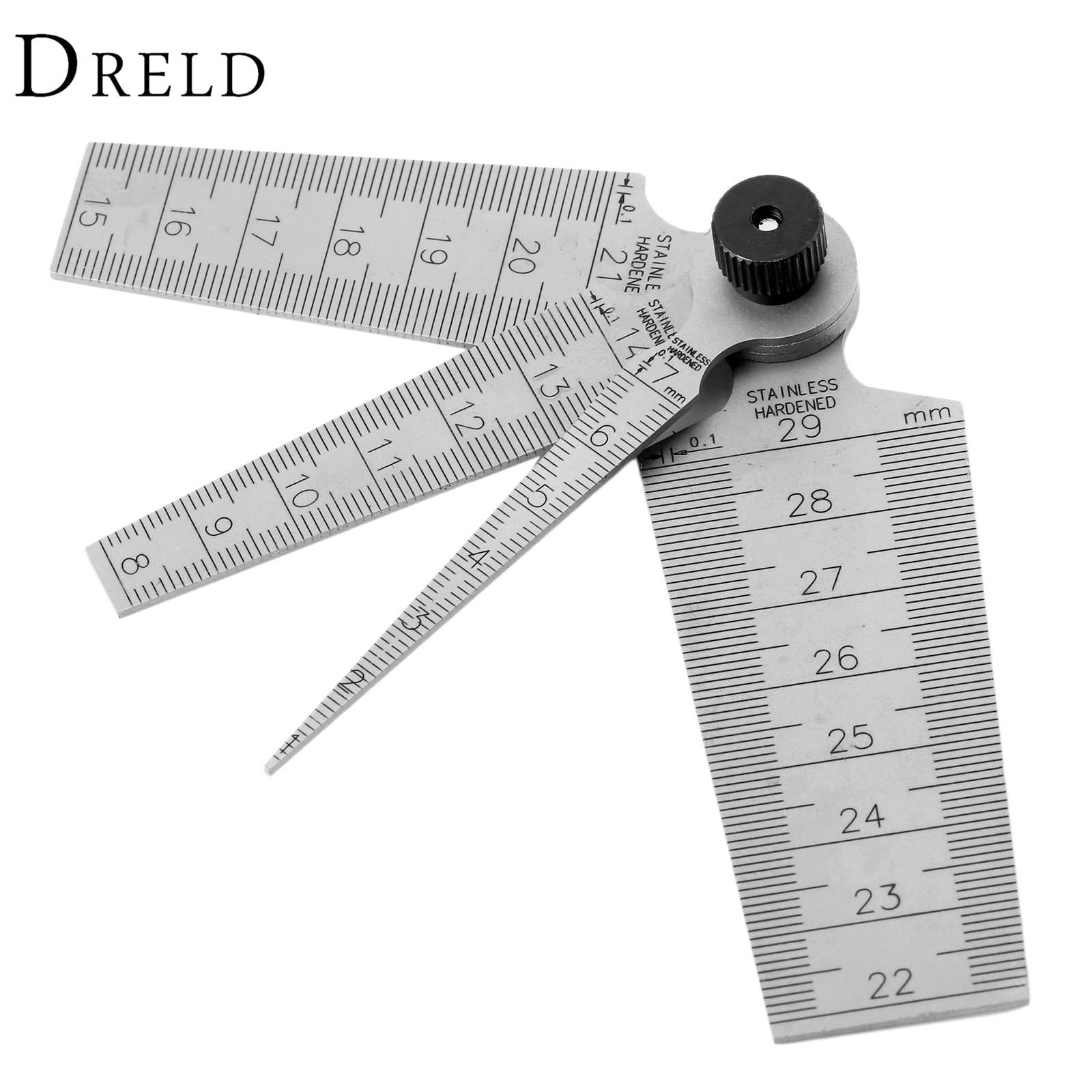 DRELD 0-29mm Steel Metric Taper Gauge Aperture Scale Wedge Feeler For Drill Hole 4 In 1 Muti-fuction Gap Ruler Measuring Tools