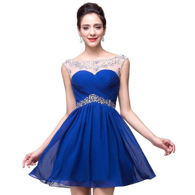 2867c5ad9 Cristales de lujo Con Cuentas Cortos Vestidos de Fiesta 2017 Backless  Atractivo de La Gasa Vestidos