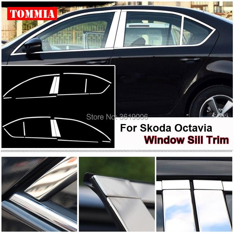 TOMMIA Full Window Middle Pillar Molding Sill Trim Chromium Styling Strips Stainless Steel For Skoda Octavia 15-18