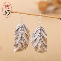 S925 Silver Jewelry Silver Earrings Handmade ear leaves retro aristocratic classical temperament lady earrings wholesale