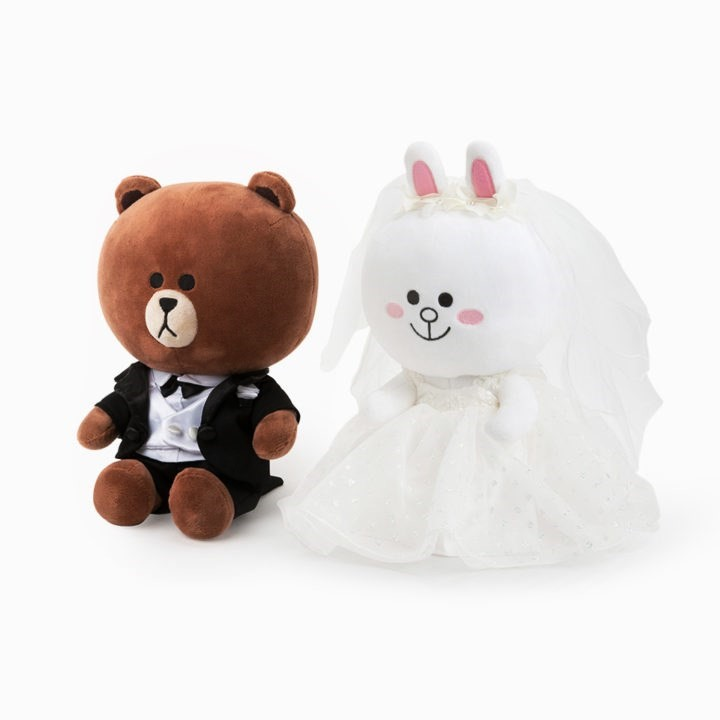 2Pcs Pair 29cm Brown Bear Plush Toy Bunny Cony Dolls Rabbit in Wedding Gown Party Gift