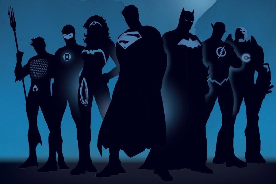 Superman Batman silhouette The Flash Wonder Woman Aquaman cartoons Posters Silk Fabric Print for wall Decor