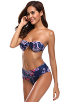 Navy Floral Strapless Bandeau Bikini High Waist Swimsuit Summer Print With Padded Sexy Swimwear