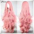Free Shipping 100cm Harajuku Lolita Wig Long Wavy Curly Pink Cosplay Wig Perruque Cheveux Synthetic Halloween Wig for Women