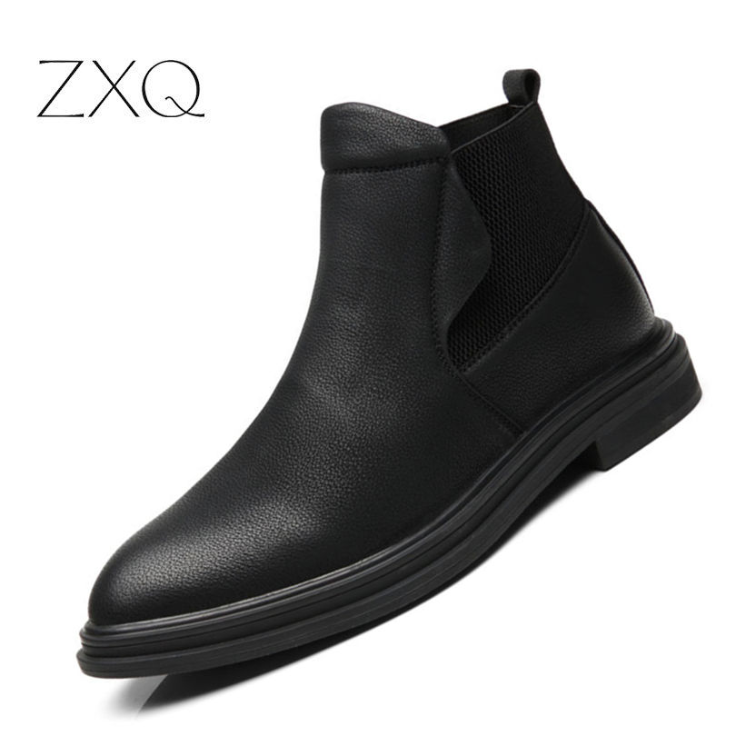 New Arrival 2018 Winter Men Black Ankle Boots Pointed Toe All Match Fashion Casual Men Shoes Slip On Men Boots Easy To Repair Basic Boots Shoes