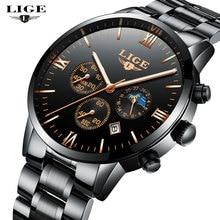 LIGE NEW Men's Watches Top Brand Luxury Men Quartz Watch Man Full Steel Multifunction Date Fashion Sport Clock Relogio Masculino