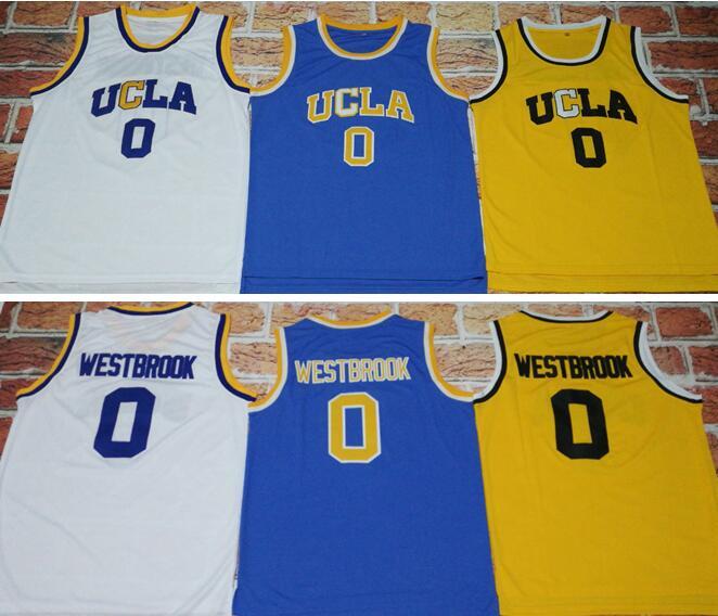 Prix pour 2017 UCLA #0 Russell Westbrook Bruins Accueil Crenshaw Bleu Route Jersey MVP Régression de Basket-Ball Jersey Piqué Broderie Logos