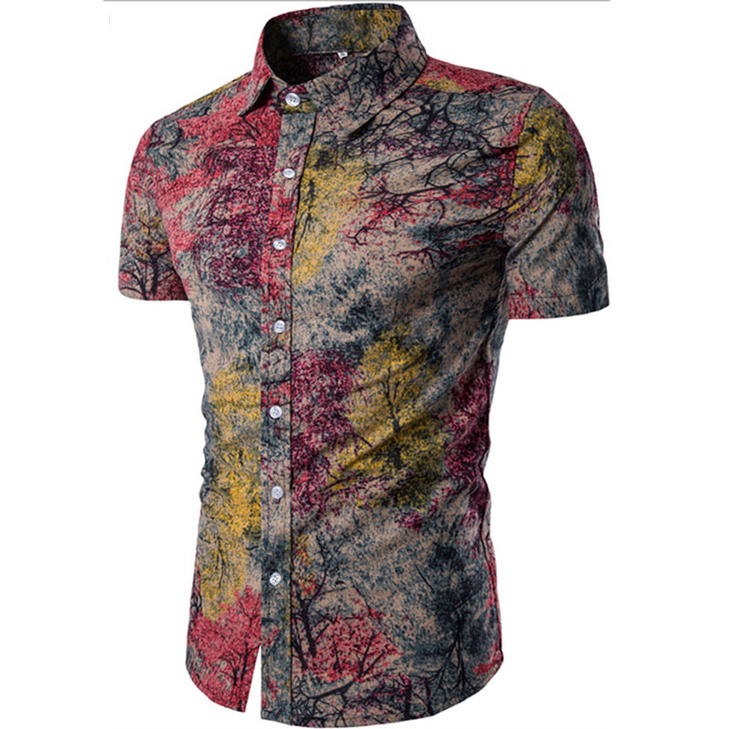 Men's Shirt 2019 New Men's Fashion Linen Shirt Men's Casual Slim Linen Print Short Sleeve Shirt Mens Hawaiian Shirt Big Sizes