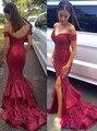 Longo Sereia Vestidos de Baile 2017 Com Decote Em V Sem Mangas Backless Trem Da Varredura Vestidos Formais Lantejoulas Dividir Partido Vestidos Vestido De Festa