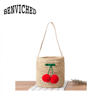 BENVICHED 2017 Cherry Pompon Summer Style Cylinders Handbags Bohemian Indian Hair Straw Bag Thai Woven Beach