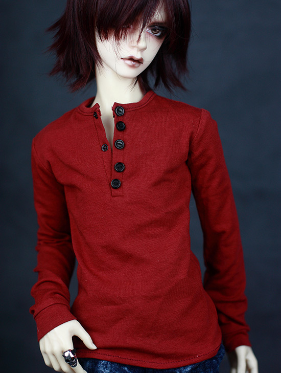 BJD doll shirt red long-sleeved classic render T-shirt for 1/3 1/4 BJD DD SD MSD SD17 Uncle doll clothes accessories bjd doll clothes sd msd yosd doll clothes daily leisure long sleeved t shirt