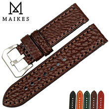 MAIKES New watch accessories 20 22 24 26mm Italian cow leather watchbands brown watch strap for fossil watch band