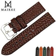 MAIKES Nieuwe horloge accessoires 20 22 24 26mm Italiaanse koe lederen horlogebanden bruin horlogeband voor fossiele horloge band