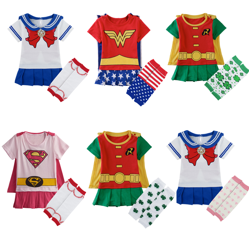 Baby Girl Wonder Woman Costume Rompers With Cape Newborn -6285