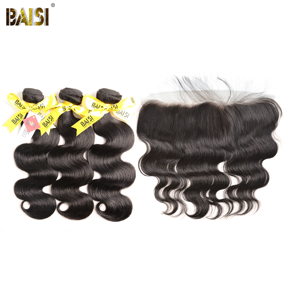 BAISI Hair Malaysian Virgin Body Wave Hair 100% Unprocessed Human Hair10-28 inch, 3 Bundles and 13x4 Frontal, Free Shipping