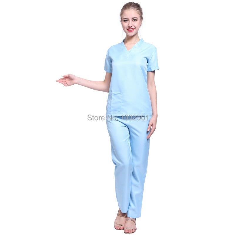 e0157a73b66 Womens Hospital Doctor Nurse Costume Outfit Scrub Top Pants Fancy ...