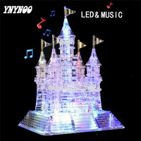 YNYNOO 3D Crystal Puzzle Music LED Flash Castle Crystal Puzzle Music Light Model DIY Castle Puzzles