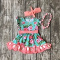 Spring summer cotton design new baby girls kids boutique clothing dress sets coral floral ruffles with matching accessories set