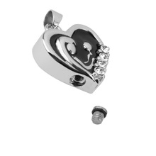 Heart Shaped Memorial Pendant With Rhinestones
