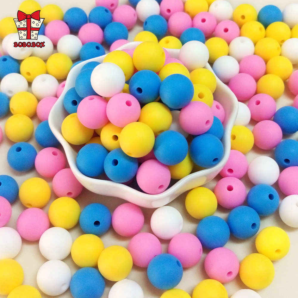 BOBO.BOX 50pcs 12mm Silicone Beads Pearl Silicone Food Grade Teething Bead DIY Pacifier Chain Accessories Baby Teething Silicone