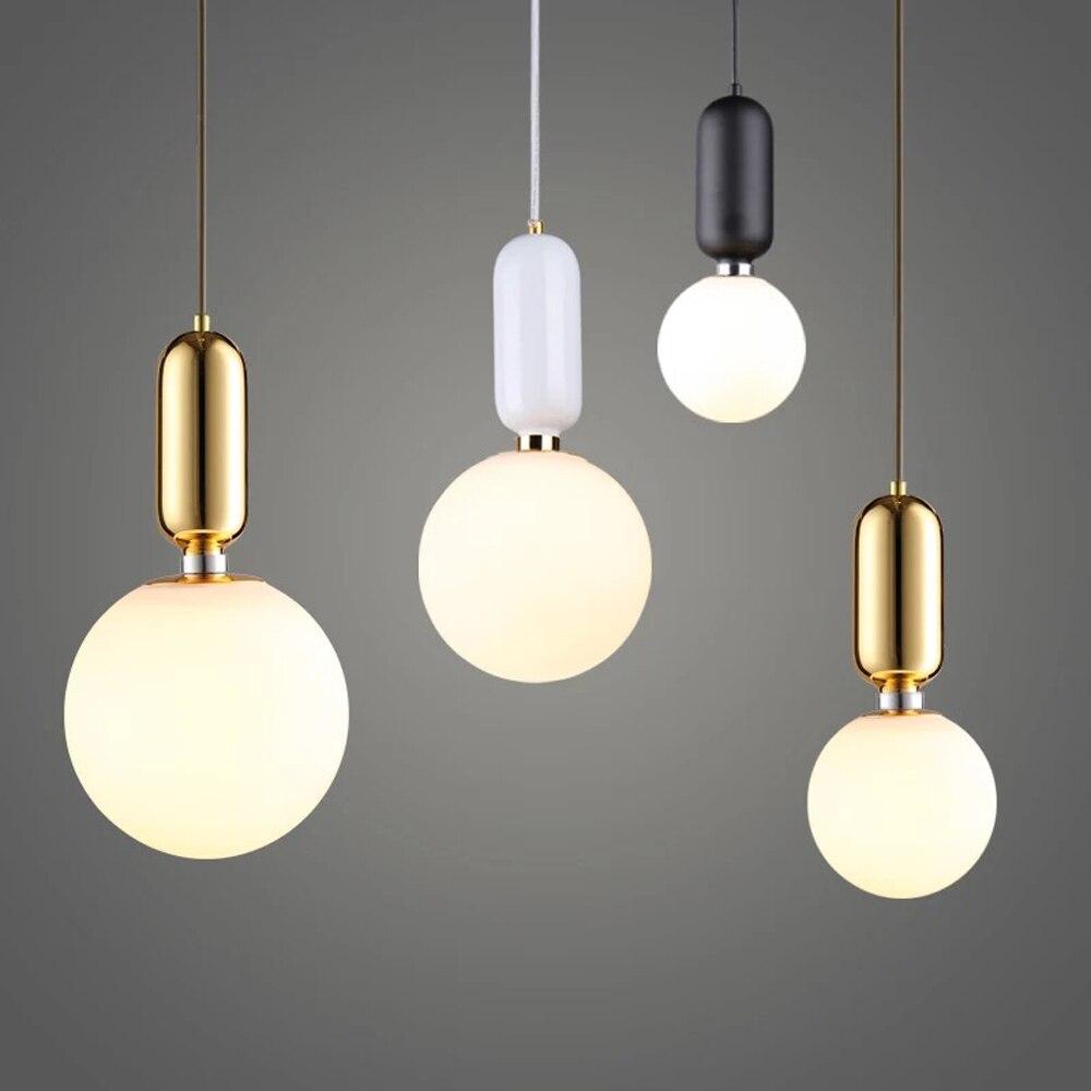 Nordic LED Pendant Lights Frosted Glass Industrial Handin Pendant Lamp Modern Bedroom Hanglamp Living Room Suspension Luminaire
