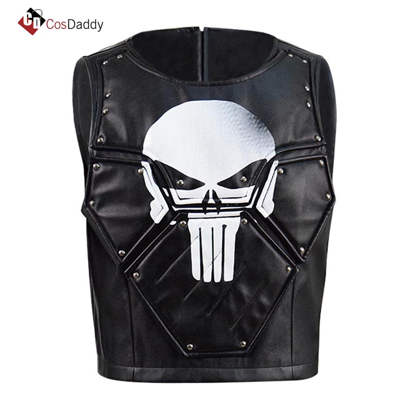 Punisher Frank Castle Cosplay Costume Leather Vest Tops Skull Print Halloween Cosplay