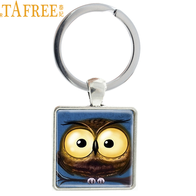 TAFREE Steampunk bonito Da Coruja de Noite keychain animal engraçado big eyes owl pássaro titular do anel chave de cadeia das mulheres dos homens de Jóias de Natal AA118
