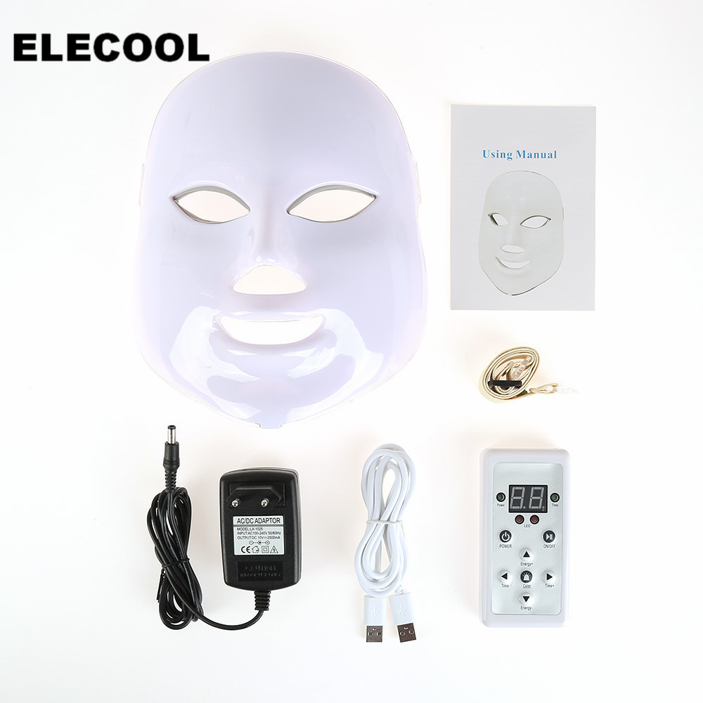 ELECOOL 7/3 Colors LED Light Photon Facial Mask Skin Rejuvenation Machine Treatments Face Wrinkle Removal Electric Beauty Device beurha facial mask led photon wrinkle acne removal beauty spa facial care led device skin rejuvenation electrical skin care tool