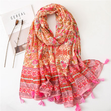 Ethnic Head Scarf 2019 Women Autumn Spring Spain Style Hippie Bohemian Romantic Long Floral Print Scarves designer women luxury