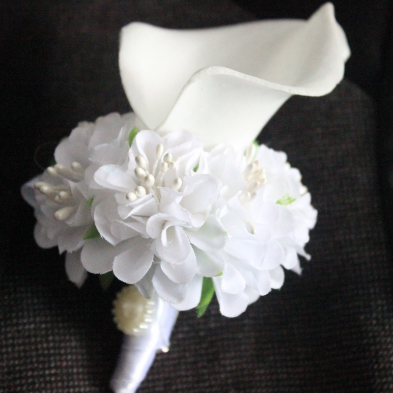 1 Piece White Blue Pink Calla Flower Corsage Groom Groomsman Wedding