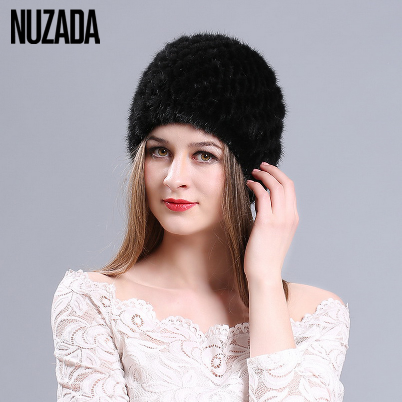 Brand NUZADA Real Mink Fur Pineapple Hat Women Lady Girl Skullies Beanies Cap Warm In Winter Knit knitted Caps Bonnet Russian rabbit hair lady autumn winter new weaving small pineapple fur hat in winter to keep warm very nice and warm comfortable