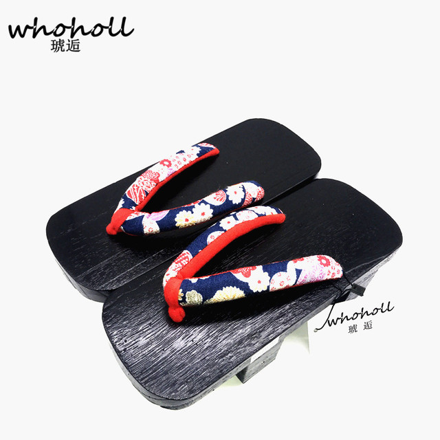 55236ea93cf4 Whoholl Summer sandals Female slippers summer Japanese wooden geta clogs  shoes sandals flip-flops two teeth with women socks