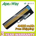Apexway 6 cell 4400mAh Laptop Battery For Lenovo N500 G550 for IdeaPad G430 V460  Z360 B460 L08S6Y02