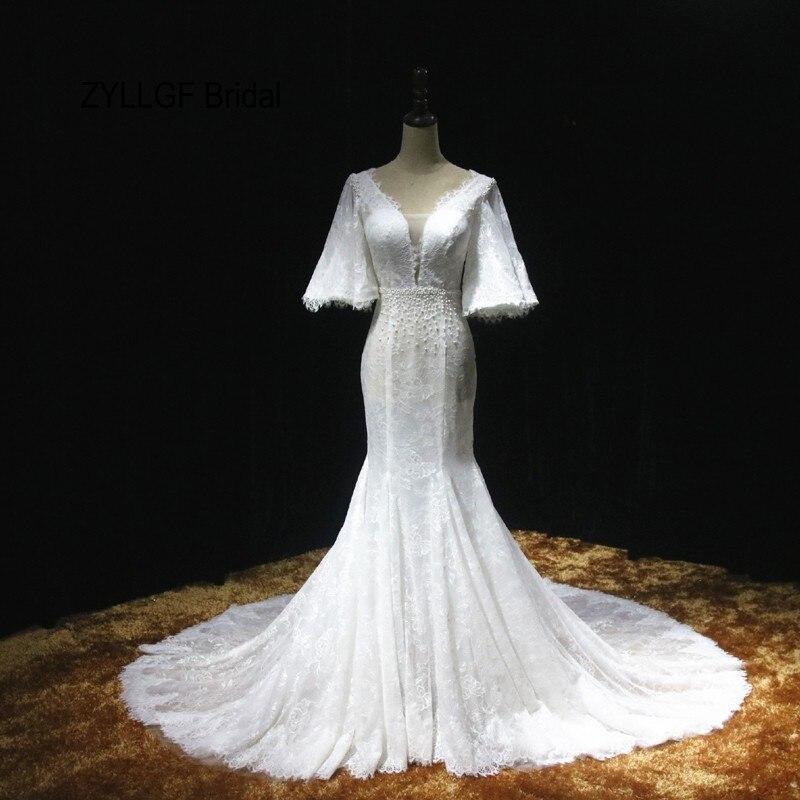 Zyllgf bridal 2017 new real lace mermaid wedding gown for True mermaid wedding dresses