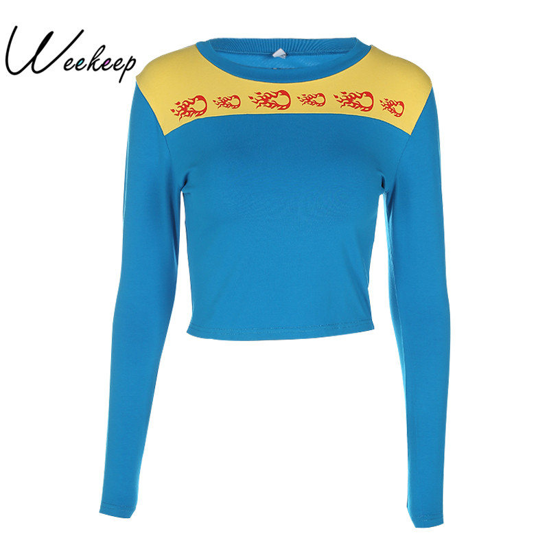 Weekeep Blue And Yellow Hit Color Autumn Winter Sweatshirts Women Small Fireball Pattern Pullovers 2017 Fashion Long Sleeve Tops