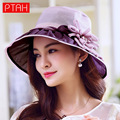 PTAH Wide Brim Organza Visor Foldable Hats For Ladies Silk Floral Bow Sun Hat Chapeu Feminino Sunscreen Summer Caps Sombrer 0457