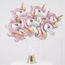 5b3173f6a 10 piezas mini Arco Iris unicornio globos de papel de aluminio de dibujos  animados de animales globo bebé ducha cumpleaños decor.