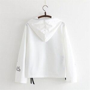 Image 3 - MERRY PRETTY Cartoon Cat Print Hooded Sweatshirts 2020 Winter Women Long Sleeve Harajuku Pullovers Femme Cotton Lace Up Hoodies