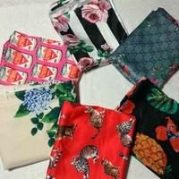 DG New fashion week show hearts poker printed satin fabric hand dress clothing fabric