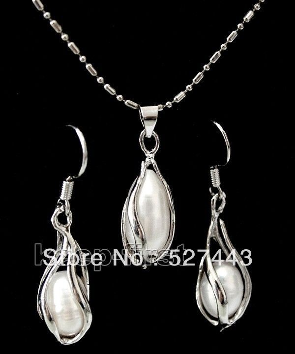 Wholesale free shipping >>7-8mm white freshwater pearl jewelery set necklace & earring