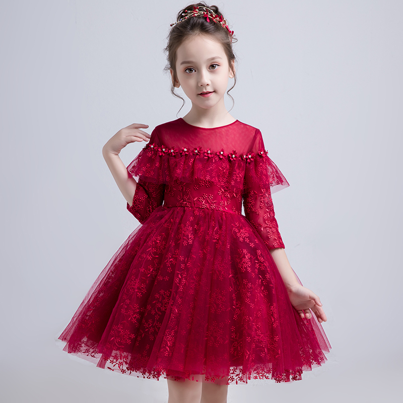 Embroidery Flower Girl Dresses Wedding Ball Gown Evening Dress Tassel Kids Pageant Dress for Birthday Costume Party VestidosEmbroidery Flower Girl Dresses Wedding Ball Gown Evening Dress Tassel Kids Pageant Dress for Birthday Costume Party Vestidos