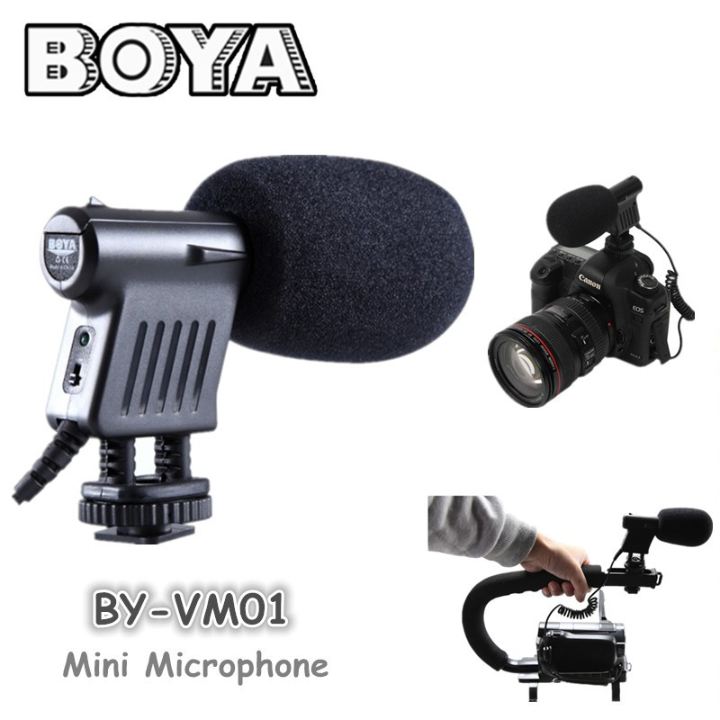BOYA-BY-VM01-Unidirectional-Condenser-microphone-with-Windshield-For-DSLR-video-cameras-and-Recording-audio